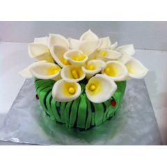Birthday Cake - Calla Lily Flowers And Ladybirds