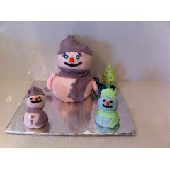 Birthday Cake - Christmas Snowman Family
